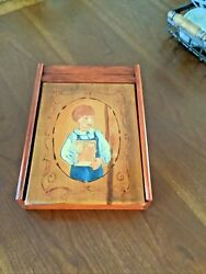 Vtg 70and039s Lap Desk Tole Wood Box Country Farm Folk Art Painting Letter Writing