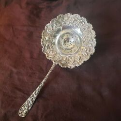Baltimore Rose By Schofield Sterling Silver Repousse Tea Strainer Original 7 3/4