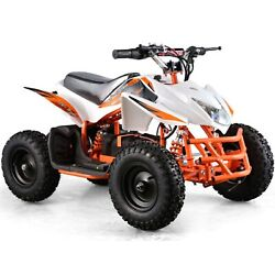 Electric Battery {24v}white Four Wheeler Kids Boys Girls Mini Quad Atv Dirt Bike