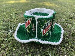 Vintage Mountain Dew Crochet Hand Made Real Can.mesh Cap Hat Made In Usa Trucker