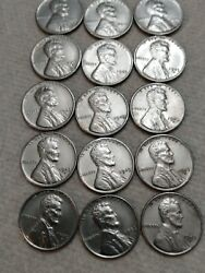 1943 P D S Lincoln Steel Wheat Cent Penny Set  Lot Of 15 Coins
