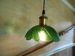 Green Leaf Hanging Pendant Light Fixture With A Glass Bowl Shade