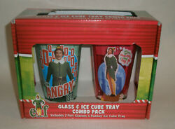 Elf Movie 2 Pint Glasses And Figural Rubber Ice Cube Tray- New In Box Will Ferrell