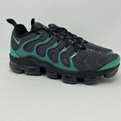 Nike Vapormax Plus Mens Size 10 Black Emerald Grey Running Shoes Sneakers New
