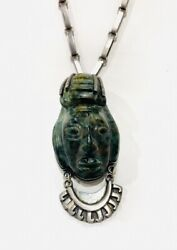 Taxco Silver Necklace With Mayan Head Carved In Jade