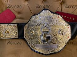 3d Crumrine Big Gold Championship Belt Replica Dual Plates With Tooling Leather