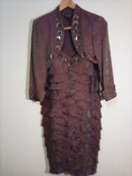 Bronze Evening Gown Tiered Layers Beaded Sequins 2 Piece umpire 12 Mom of Bride $69.99