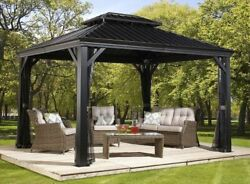 Gazebo 12and039 X 16and039 Pool Patio Sun Shelter Steel Roof With Mosquito Netting Gray