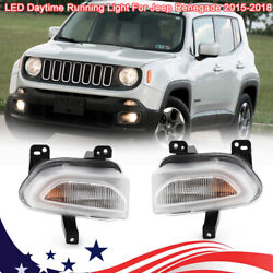 For 2015-2018 Jeep Renegade Pair Front Bumper Drl Fog Light Daytime Running Lamp
