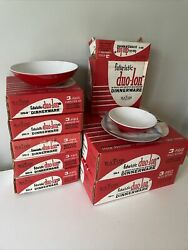 Lot Vintage Melmac Pcs In Boxes Never Used Red White Futuristic 23 Pieces