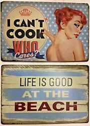8x12 In Tin Signs 2pc Set Funny Cooking She Shed Love Beach Vintage Wall Door