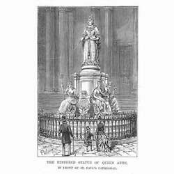 St Paul's Cathedral Statue Of Queen Anne - Antique Print 1887