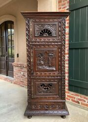 Antique French Carved Bonnetiere Armoire Cabinet Brittany Breton Wardrobe 19th C