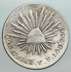 1828 Yf Mexico Spain Eagle And Liberty Cap Silver Antique 2 Reales Old Coin I90507