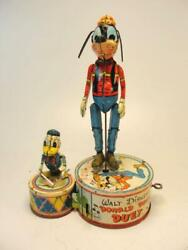 1945 Louis Marx Co. Walt Disney Donald Duck Duet Tin Wind Up Jigger Toy Goofy