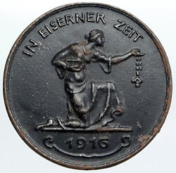 1916 Germany In Eiserner Zeit Wwi Collection Campaign Antique Medal Token I90521
