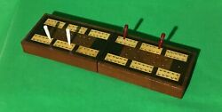 Old Vintage Inlaid Wooden Playing Cards Cribbage Board Box + Pegs Card Game