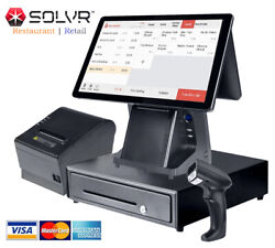 Double Touch Screens Pos / Cash Register 0 Monthly Fee Software For Restaurant
