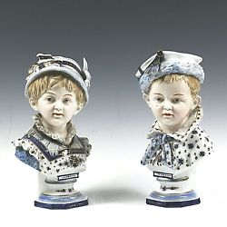 Set Of 2 Antique Kpm Porcelain Figurine Boy And Girl White And Blue Berlin Germany