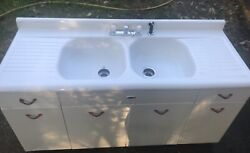Antique 1940s White Ampco Double Basin Kitchen Sink With Drain Boards