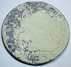 1774 Shipwreck Spanish Silver 4 Reales Genuine Antique 1700s Old Pirate Coin