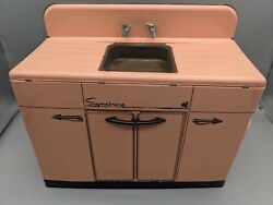 Vintage 1950's Marx Signature Pink Kids Metal/tin Sink And Cabinet