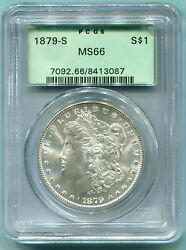 1879-s Morgan Silver Dollar S1 Pcgs Ms66 Ms-66 Old Green Holder Ogh Blast White