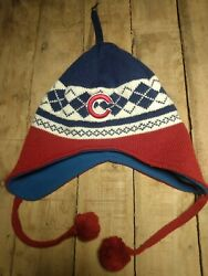 Fan Favorite Chicago Cubs One Size Red White Blue Winter Hat With Ear Flaps
