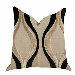 Plutus Misty Belvedere Luxury Decorative Throw Pillow In Black Brown Double Sid