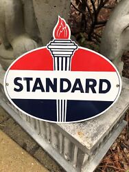 Standard Oil Porcelain Gas Torch Flame Sign