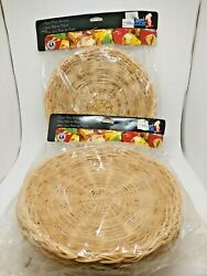 Vintage Wicker Rattan Bamboo Paper Plate Holders Set Of 8 New Nos