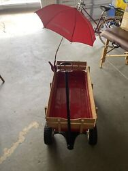 Radio Flyer Full Size All Terrain Classic Steel And Wood Pull Along Wagon, Red