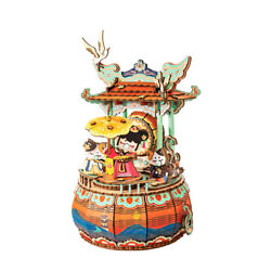Diy Mechanical Music Box Wooden Dance 3d Puzzle Model Toys For Kids Adult Gift