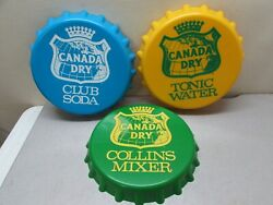 Vintage 3 Canada Dry Advertising Bottle Cap Tonic Water Club Soda Collins Mixer