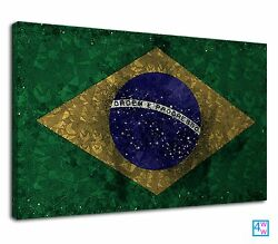 Brazilian Flag Digital Abstract Art For Bedroom Canvas Wall Art Picture Print