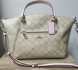 Coach Women#x27;s Prairie Satchel Crossbody Leather Bag in signature canvas $184.49
