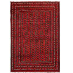 1302 Large Size Best Quality Hand-woven Red Khoja Roshnai Hall Rug 6'5 X 9'4 Ft
