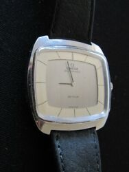 Omega Deville Vintage Automatic Mens Wrist Watch Stainless Steel Leather