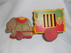 Antique Gibbs Antique Cardboard Circus Wagon And Elephant Toy