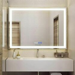 Anti Fog LED Bathroom Mirror Makeup Vanity Mirror Dimmer Touch Time Display