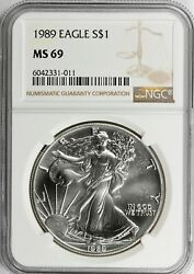1989 Silver Eagle Ngc Certified Ms69 - Brown Label