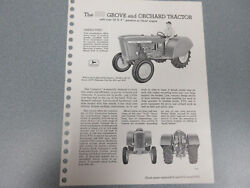 Rare John Deere 1010 Grove And Orchard Tractor Brochure 2 Page