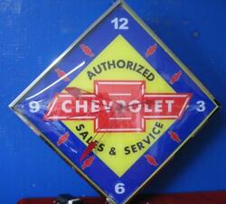 New Chevrolet Sales And Service Pam Style Lighted Advertising Clock