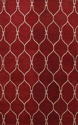 9x12 Ft Trellis Modern Oriental Area Rug Hand-tufted Wool Dining Room Red Carpet