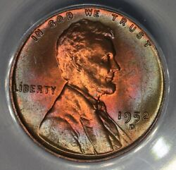 1952-d .01 Anacs Ms 64 Rb Lincoln Head Cent Lincoln One Cent