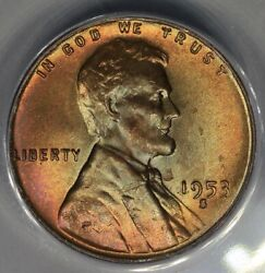 1953-s .01 Anacs Ms 65 Rb Lincoln Head Cent Lincoln One Cent