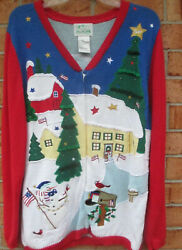 Quacker Factory Large Patriotic Christmas Sweater Cardigan Button Front Vtg