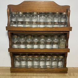 Vintage Wooden Spice Rack Crystal Food Products With 23 Jars With.lids
