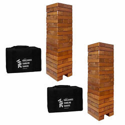 Yardgames Giant Tumbling Timbers Wood Stacking Game With 56 Blocks 2 Pack