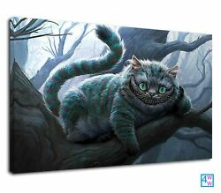 Evil Cheshire Cat green eyes sitting on the tree Canvas Wall Art Picture Print